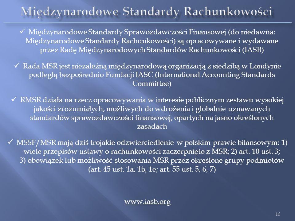 Międzynarodowe Standardy Sprawozdawczości Finansowej (do niedawna: Międzynarodowe Standardy Rachunkowości) są opracowywane i wydawane przez Radę Międz