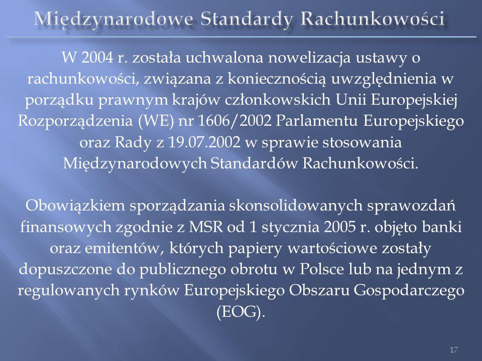W 2004 r. została uchwalona nowelizacja ustawy o rachunkowości, związana z koniecznością uwzględnienia w porządku prawnym krajów członkowskich Unii Eu
