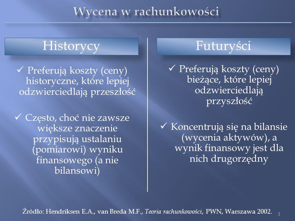 Efektem dyskusji i sporów na temat właściwych sposobów wyceny jest wielość i różnorodność tych sposobów Ta różnorodność odzwierciedla wielość celów rachunkowości Dla różnych celów są odpowiednie różne sposoby wyceny Nie istnieje jedna metoda wyceny, która służyłaby dobrze wszystkim celom rachunkowości Źródło: Hendriksen E.A., van Breda M.F., Teoria rachunkowości, PWN, Warszawa 2002.