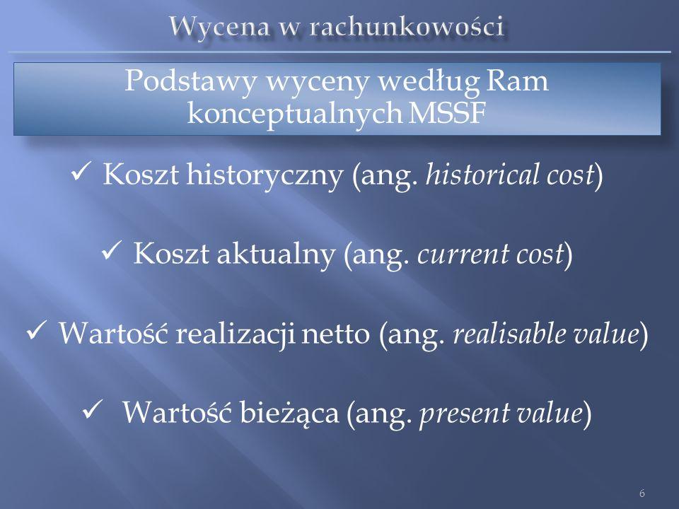 Podstawy wyceny według Ram konceptualnych MSSF Koszt historyczny (ang. historical cost ) Koszt aktualny (ang. current cost ) Wartość realizacji netto