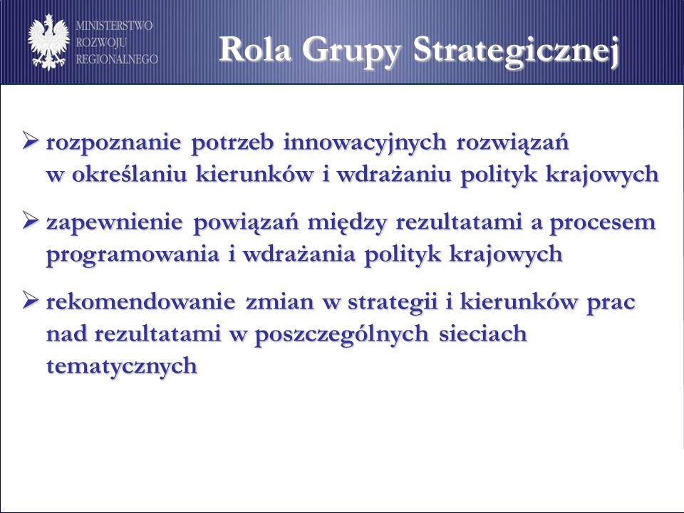 Rola Grupy Strategicznej rozpoznanie potrzeb innowacyjnych rozwiązań rozpoznanie potrzeb innowacyjnych rozwiązań w określaniu kierunków i wdrażaniu polityk krajowych zapewnienie powiązań między rezultatami a procesem programowania i wdrażania polityk krajowych zapewnienie powiązań między rezultatami a procesem programowania i wdrażania polityk krajowych rekomendowanie zmian w strategii i kierunków prac nad rezultatami w poszczególnych sieciach tematycznych rekomendowanie zmian w strategii i kierunków prac nad rezultatami w poszczególnych sieciach tematycznych