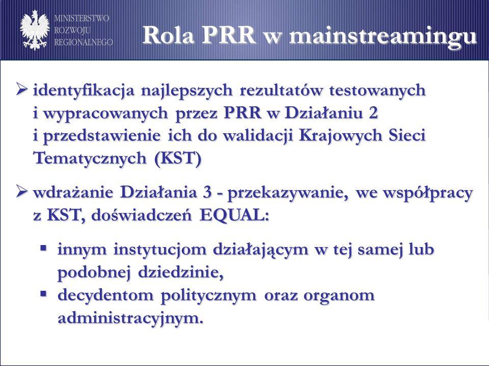 Rola PRR w mainstreamingu identyfikacja najlepszych rezultatów testowanych identyfikacja najlepszych rezultatów testowanych i wypracowanych przez PRR w Działaniu 2 i przedstawienie ich do walidacji Krajowych Sieci Tematycznych (KST) wdrażanie Działania 3 - przekazywanie, we współpracy wdrażanie Działania 3 - przekazywanie, we współpracy z KST, doświadczeń EQUAL: innym instytucjom działającym w tej samej lub podobnej dziedzinie, innym instytucjom działającym w tej samej lub podobnej dziedzinie, decydentom politycznym oraz organom administracyjnym.