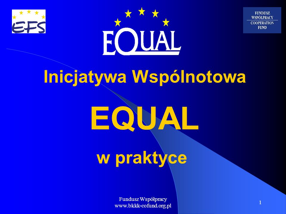 Fundusz Współpracy www.bkkk-cofund.org.pl 1 EQUAL w praktyce Inicjatywa Wspólnotowa