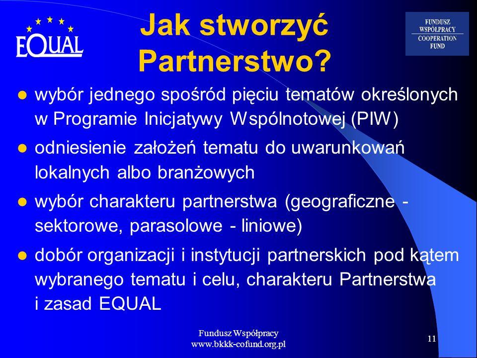 Fundusz Współpracy www.bkkk-cofund.org.pl 11 Jak stworzyć Partnerstwo? wybór jednego spośród pięciu tematów określonych w Programie Inicjatywy Wspólno
