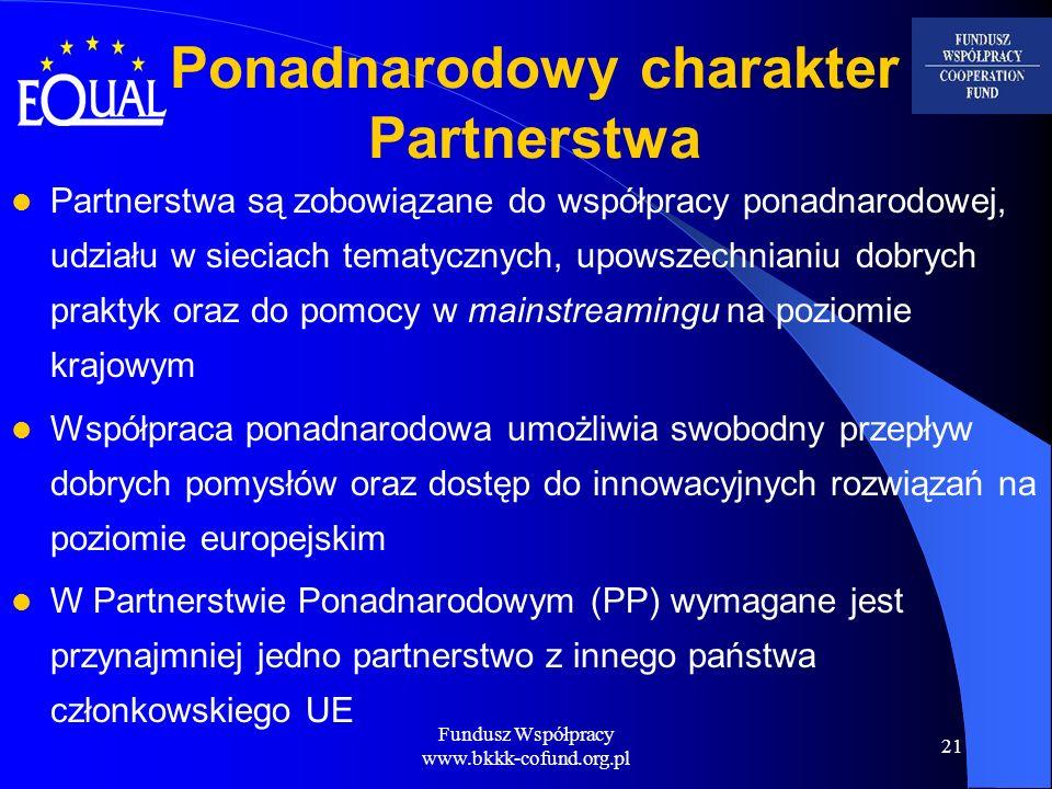 Fundusz Współpracy www.bkkk-cofund.org.pl 21 Ponadnarodowy charakter Partnerstwa Partnerstwa są zobowiązane do współpracy ponadnarodowej, udziału w si