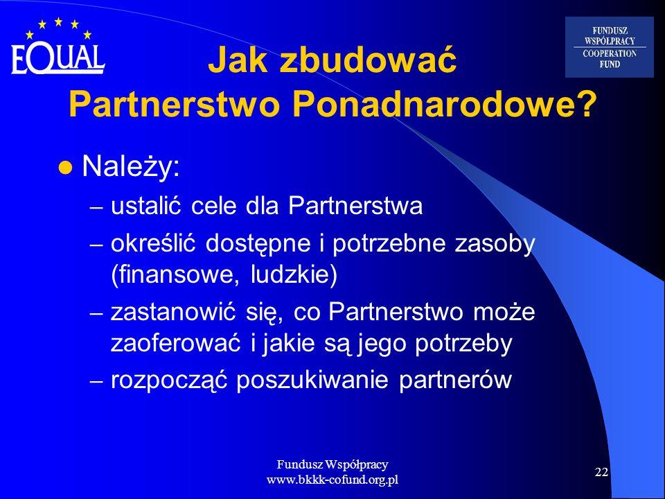 Fundusz Współpracy www.bkkk-cofund.org.pl 22 Jak zbudować Partnerstwo Ponadnarodowe? Należy: – ustalić cele dla Partnerstwa – określić dostępne i potr