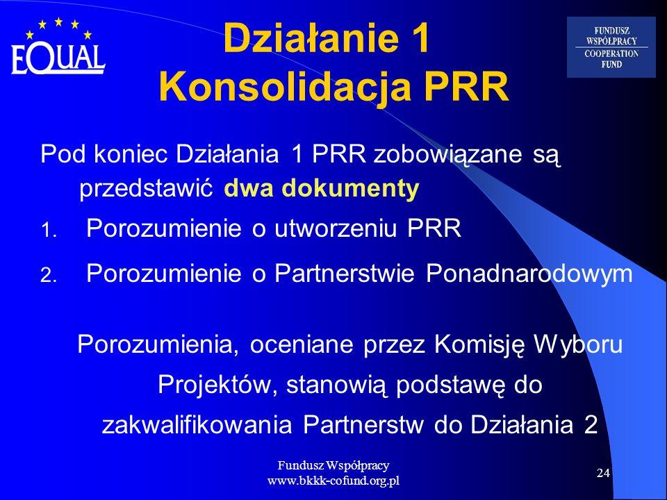 Fundusz Współpracy www.bkkk-cofund.org.pl 24 Działanie 1 Konsolidacja PRR Pod koniec Działania 1 PRR zobowiązane są przedstawić dwa dokumenty 1. Poroz