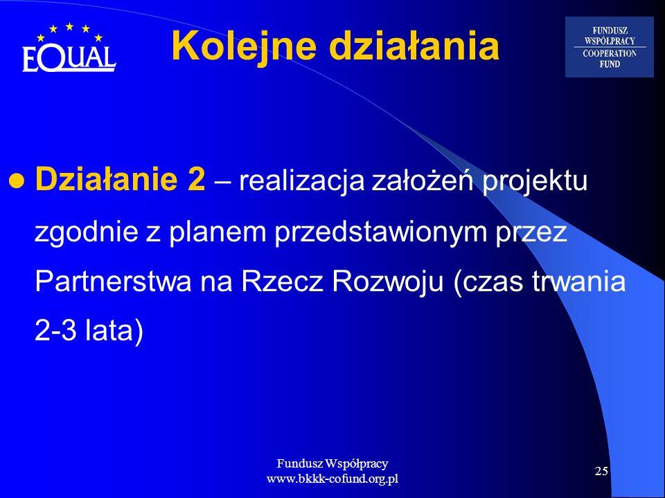 Fundusz Współpracy www.bkkk-cofund.org.pl 25 Działanie 2 – realizacja założeń projektu zgodnie z planem przedstawionym przez Partnerstwa na Rzecz Rozw