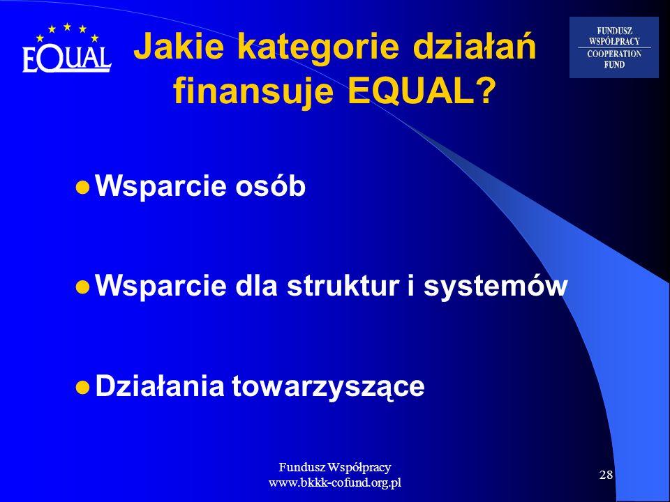 Fundusz Współpracy www.bkkk-cofund.org.pl 28 Jakie kategorie działań finansuje EQUAL? Wsparcie osób Wsparcie dla struktur i systemów Działania towarzy