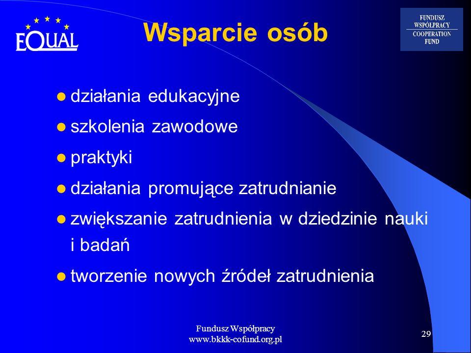 Fundusz Współpracy www.bkkk-cofund.org.pl 29 Wsparcie osób działania edukacyjne szkolenia zawodowe praktyki działania promujące zatrudnianie zwiększan