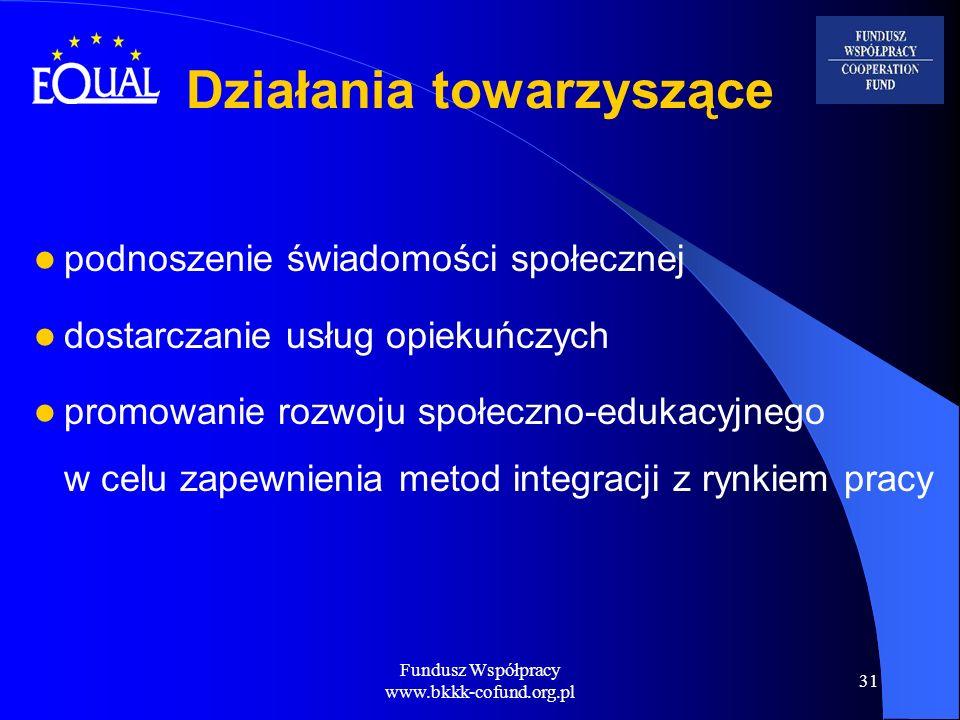 Fundusz Współpracy www.bkkk-cofund.org.pl 31 Działania towarzyszące podnoszenie świadomości społecznej dostarczanie usług opiekuńczych promowanie rozw