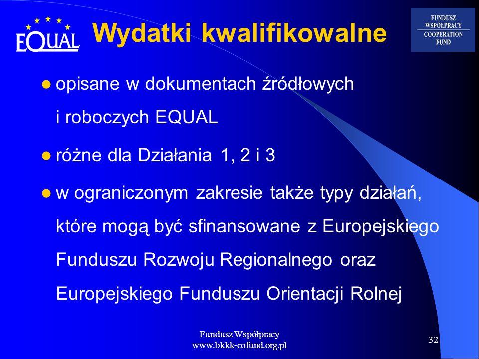 Fundusz Współpracy www.bkkk-cofund.org.pl 32 Wydatki kwalifikowalne opisane w dokumentach źródłowych i roboczych EQUAL różne dla Działania 1, 2 i 3 w