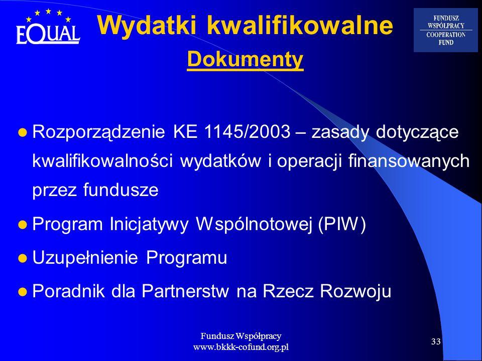 Fundusz Współpracy www.bkkk-cofund.org.pl 33 Wydatki kwalifikowalne Dokumenty Rozporządzenie KE 1145/2003 – zasady dotyczące kwalifikowalności wydatkó