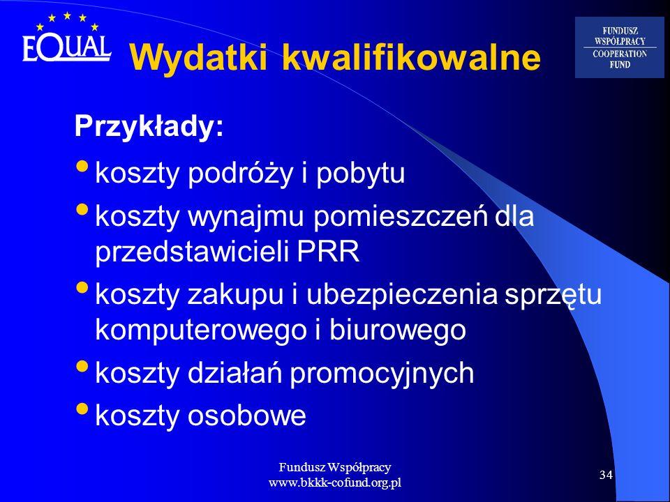 Fundusz Współpracy www.bkkk-cofund.org.pl 34 Wydatki kwalifikowalne Przykłady: koszty podróży i pobytu koszty wynajmu pomieszczeń dla przedstawicieli