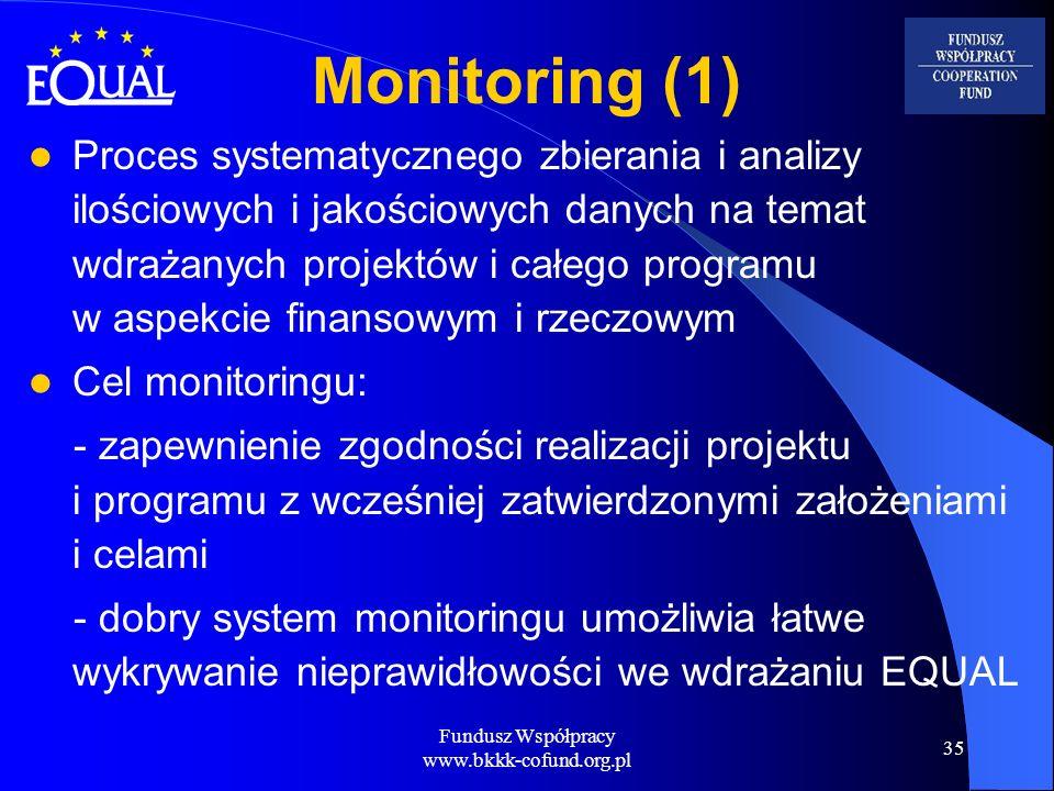 Fundusz Współpracy www.bkkk-cofund.org.pl 35 Monitoring (1) Proces systematycznego zbierania i analizy ilościowych i jakościowych danych na temat wdra