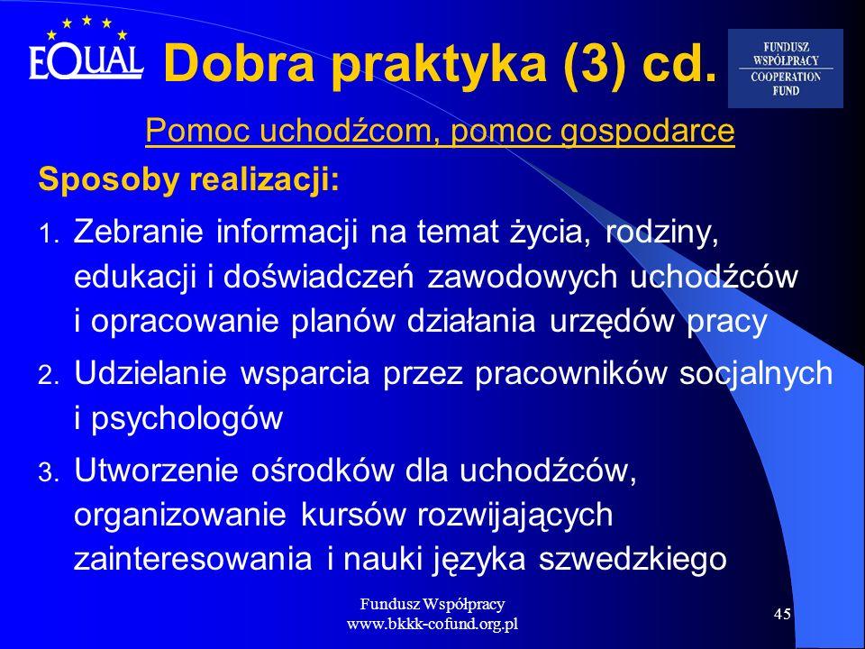Fundusz Współpracy www.bkkk-cofund.org.pl 45 Dobra praktyka (3) cd. Pomoc uchodźcom, pomoc gospodarce Sposoby realizacji: 1. Zebranie informacji na te