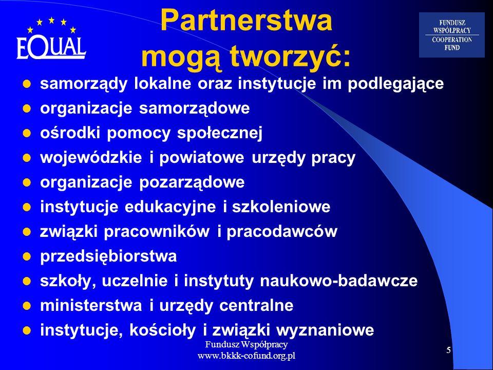 Fundusz Współpracy www.bkkk-cofund.org.pl 16 Wniosek o finansowanie projektu Wniosek musi zawierać elementy konieczne do uwzględnienia go w procedurze selekcji (opisane w Programie Inicjatywy Wspólnotowej – PIW) Wnioski aplikacyjne podlegają procedurze wyboru przez Komisję Wyboru Projektów oraz Podkomisję Oceny Projektów termin ostateczny składania wniosków – lipiec 2004 Pamiętajmy: jedyna szansa na przystąpienie do EQUAL jest właśnie w tym roku!