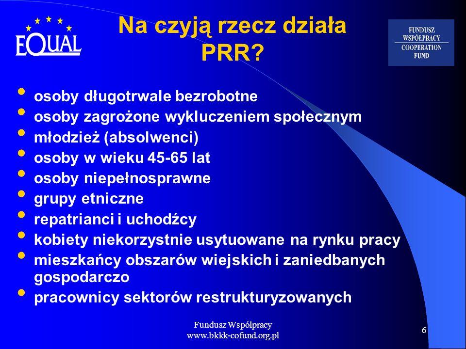 Fundusz Współpracy www.bkkk-cofund.org.pl 6 osoby długotrwale bezrobotne osoby zagrożone wykluczeniem społecznym młodzież (absolwenci) osoby w wieku 4