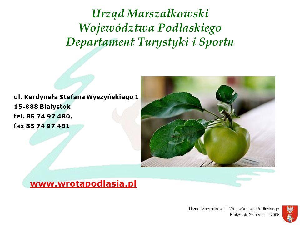 Urząd Marszałkowski Województwa Podlaskiego Białystok, 25 stycznia 2006 Urząd Marszałkowski Województwa Podlaskiego Departament Turystyki i Sportu ul.
