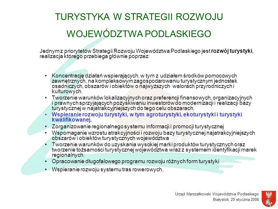 Urząd Marszałkowski Województwa Podlaskiego Białystok, 25 stycznia 2006 TURYSTYKA W STRATEGII ROZWOJU WOJEWÓDZTWA PODLASKIEGO Jednym z priorytetów Str
