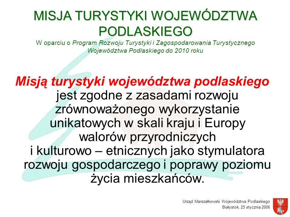 Urząd Marszałkowski Województwa Podlaskiego Białystok, 25 stycznia 2006 MISJA TURYSTYKI WOJEWÓDZTWA PODLASKIEGO MISJA TURYSTYKI WOJEWÓDZTWA PODLASKIEG