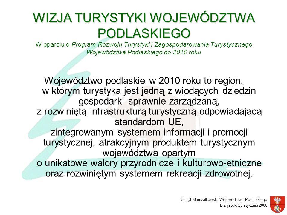 Urząd Marszałkowski Województwa Podlaskiego Białystok, 25 stycznia 2006 WIZJA TURYSTYKI WOJEWÓDZTWA PODLASKIEGO WIZJA TURYSTYKI WOJEWÓDZTWA PODLASKIEG