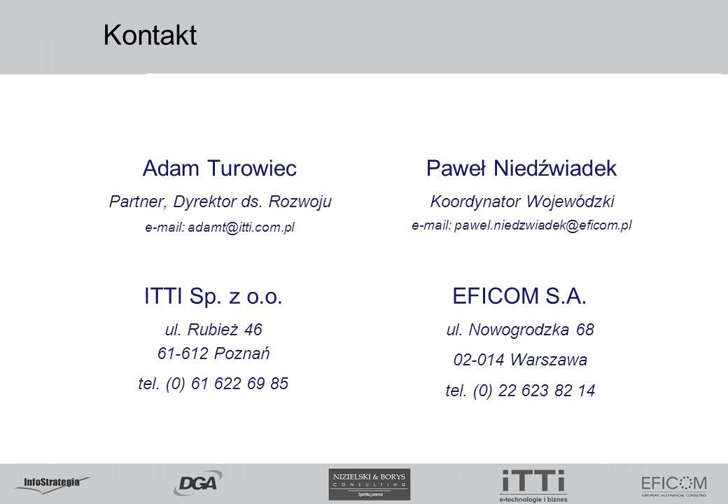Kontakt Adam Turowiec Partner, Dyrektor ds. Rozwoju e-mail: adamt@itti.com.pl Paweł Niedźwiadek Koordynator Wojewódzki e-mail: pawel.niedzwiadek@efico