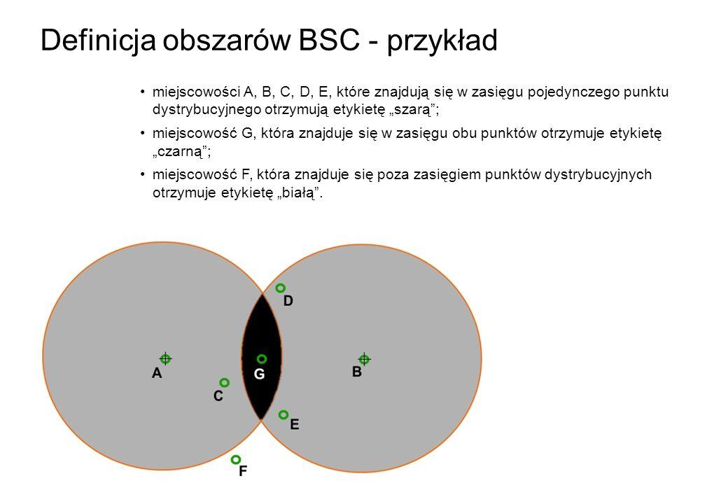 Definicja obszarów BSC - przykład miejscowości A, B, C, D, E, które znajdują się w zasięgu pojedynczego punktu dystrybucyjnego otrzymują etykietę szar