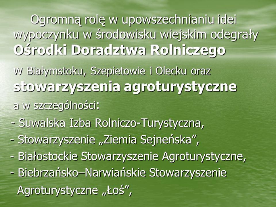 Ogromną rolę w upowszechnianiu idei wypoczynku w środowisku wiejskim odegrały Ośrodki Doradztwa Rolniczego w Białymstoku, Szepietowie i Olecku oraz st