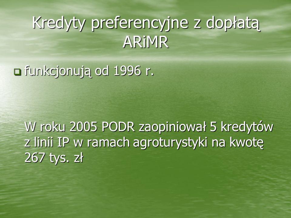 Kredyty preferencyjne z dopłatą ARiMR funkcjonują od 1996 r. funkcjonują od 1996 r. W roku 2005 PODR zaopiniował 5 kredytów z linii IP w ramach agrotu