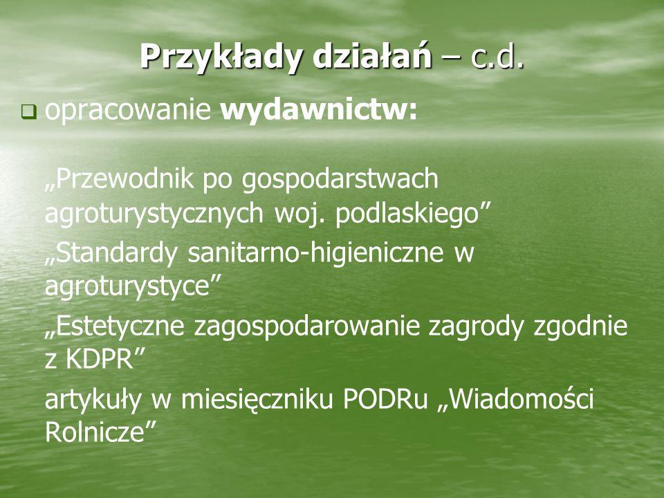 Przykłady działań – c.d. opracowanie wydawnictw: Przewodnik po gospodarstwach agroturystycznych woj. podlaskiego Standardy sanitarno-higieniczne w agr