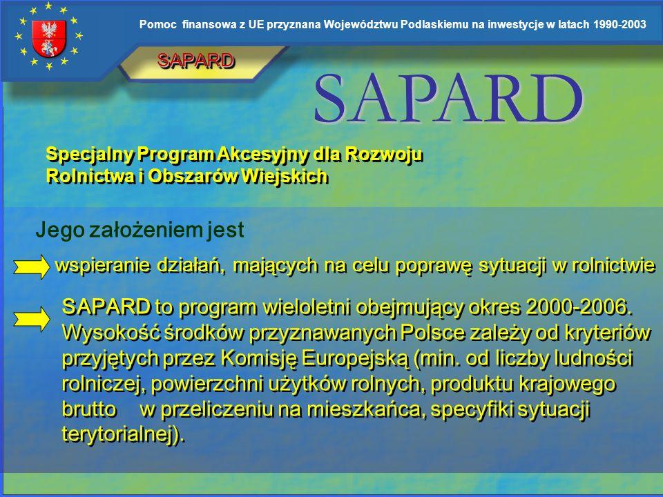 Pomoc finansowa z UE przyznana Województwu Podlaskiemu na inwestycje w latach 1990-2003 ISPA Przedakcesyjny Instrument Polityki Strukturalnej współfin