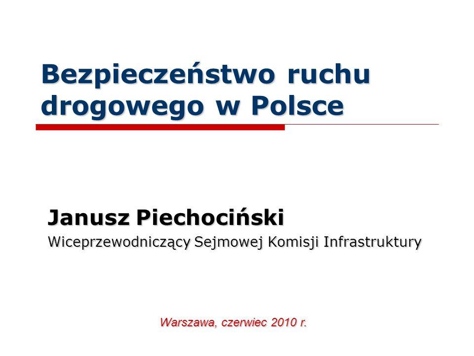 Bezpieczeństwo ruchu drogowego w Polsce Janusz Piechociński Wiceprzewodniczący Sejmowej Komisji Infrastruktury Warszawa, czerwiec 2010 r.