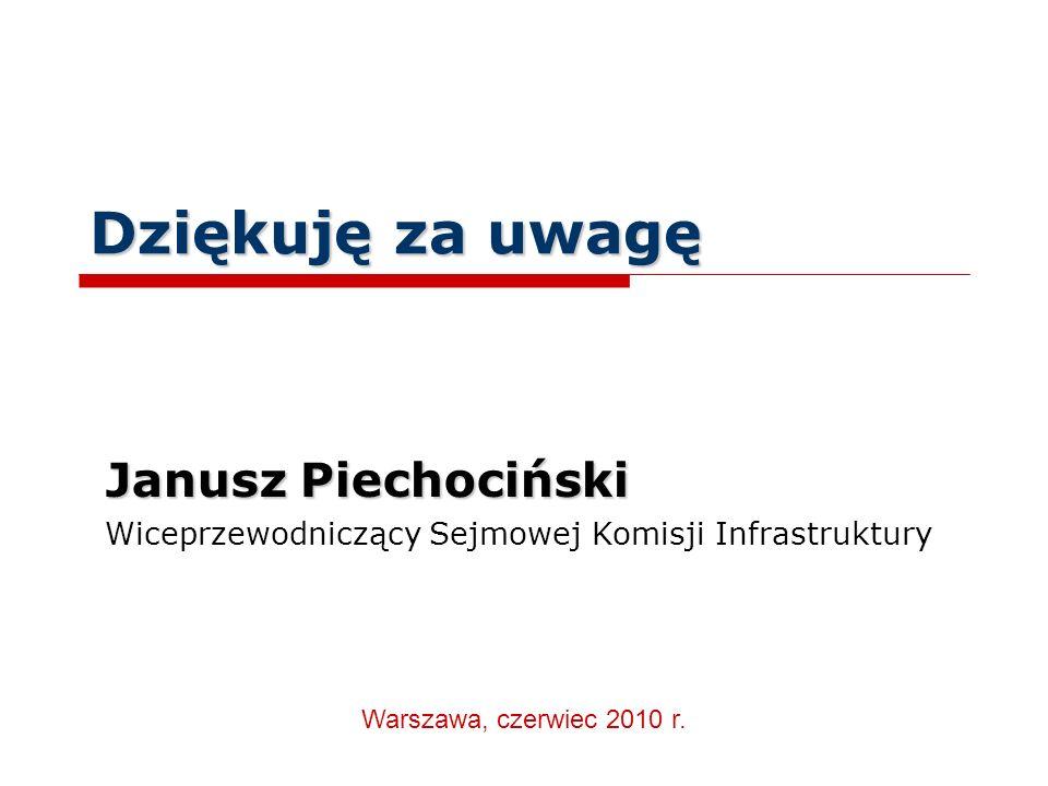 Dziękuję za uwagę Janusz Piechociński Wiceprzewodniczący Sejmowej Komisji Infrastruktury Warszawa, czerwiec 2010 r.