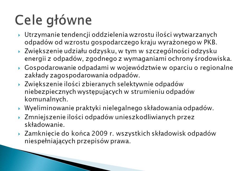 Objęcie zorganizowanym systemem odbierania odpadów komunalnych, w tym zbieraniem selektywnym 100% mieszkańców województwa do końca roku 2010.