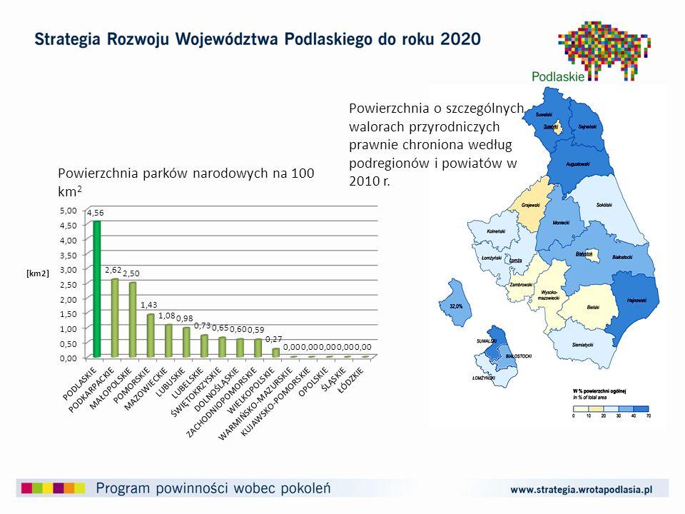 Powierzchnia parków narodowych na 100 km 2 Powierzchnia o szczególnych walorach przyrodniczych prawnie chroniona według podregionów i powiatów w 2010 r.