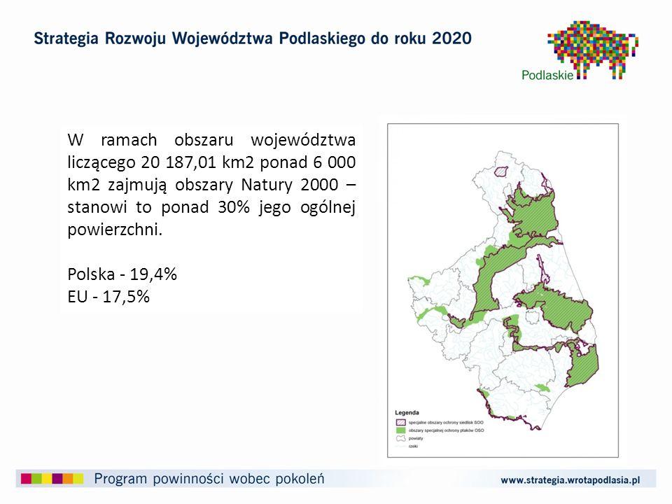 W ramach obszaru województwa liczącego 20 187,01 km2 ponad 6 000 km2 zajmują obszary Natury 2000 – stanowi to ponad 30% jego ogólnej powierzchni.