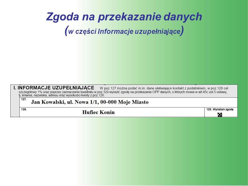 Zgoda na przekazanie danych ( w części Informacje uzupełniające )