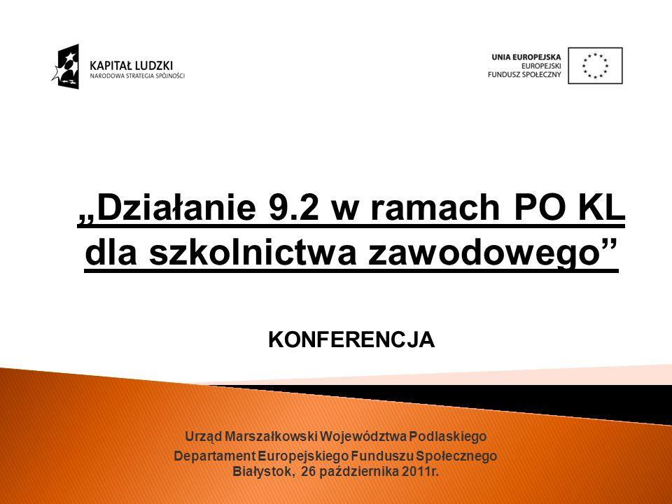 Urząd Marszałkowski Województwa Podlaskiego Departament Europejskiego Funduszu Społecznego Białystok, 26 października 2011r.