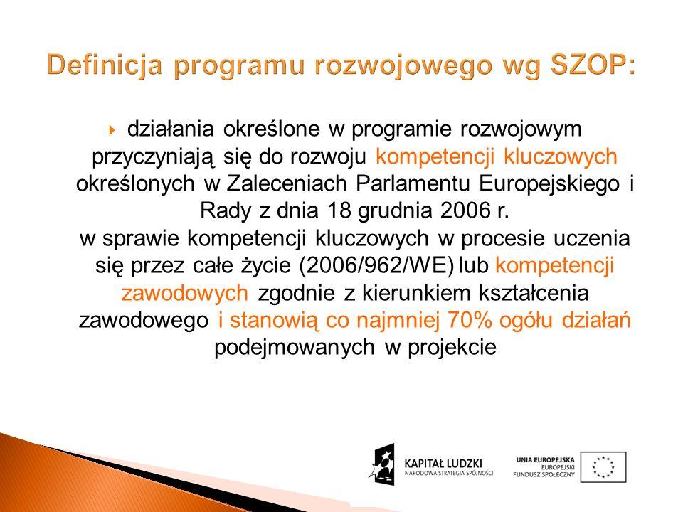 Definicja programu rozwojowego wg SZOP: działania określone w programie rozwojowym przyczyniają się do rozwoju kompetencji kluczowych określonych w Zaleceniach Parlamentu Europejskiego i Rady z dnia 18 grudnia 2006 r.