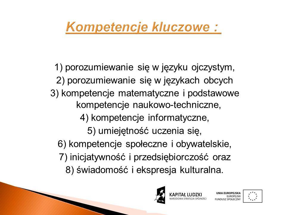Kompetencje kluczowe : 1) porozumiewanie się w języku ojczystym, 2) porozumiewanie się w językach obcych 3) kompetencje matematyczne i podstawowe kompetencje naukowo-techniczne, 4) kompetencje informatyczne, 5) umiejętność uczenia się, 6) kompetencje społeczne i obywatelskie, 7) inicjatywność i przedsiębiorczość oraz 8) świadomość i ekspresja kulturalna.
