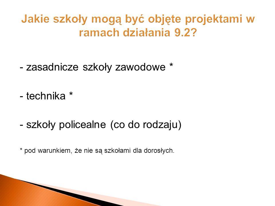 - zasadnicze szkoły zawodowe * - technika * - szkoły policealne (co do rodzaju) * pod warunkiem, że nie są szkołami dla dorosłych.
