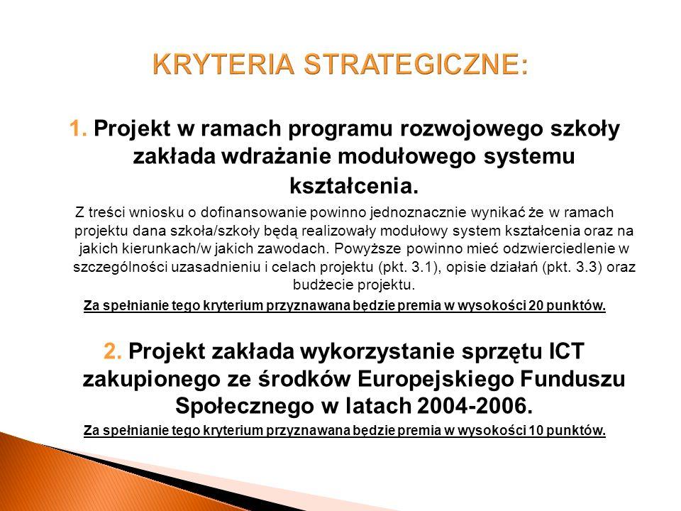 1. Projekt w ramach programu rozwojowego szkoły zakłada wdrażanie modułowego systemu kształcenia.