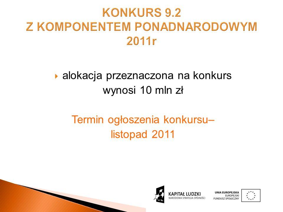 KONKURS 9.2 Z KOMPONENTEM PONADNARODOWYM 2011r alokacja przeznaczona na konkurs wynosi 10 mln zł Termin ogłoszenia konkursu– listopad 2011