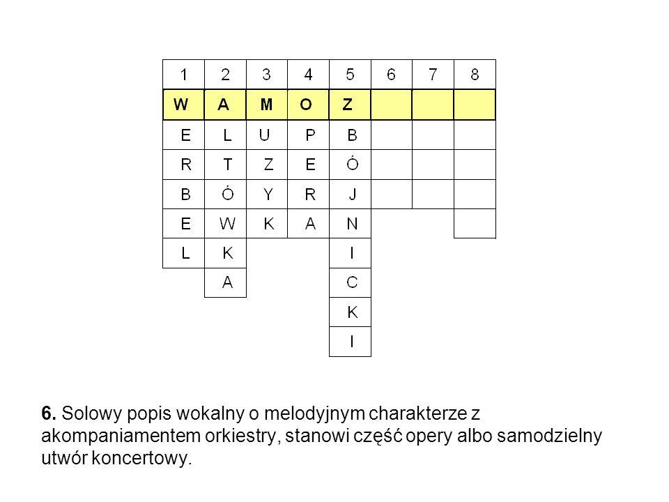 6. Solowy popis wokalny o melodyjnym charakterze z akompaniamentem orkiestry, stanowi część opery albo samodzielny utwór koncertowy.
