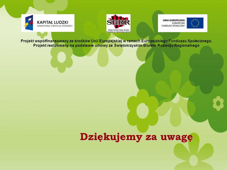 Dziękujemy za uwagę Projekt współfinansowany ze środków Unii Europejskiej w ramach Europejskiego Funduszu Społecznego.