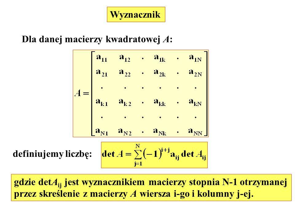 Wyznacznik Dla danej macierzy kwadratowej A: definiujemy liczbę: gdzie detA ij jest wyznacznikiem macierzy stopnia N-1 otrzymanej przez skreślenie z m