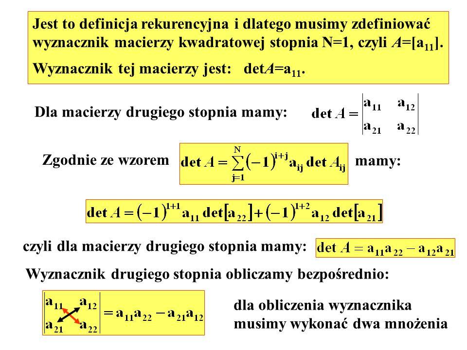 Jest to definicja rekurencyjna i dlatego musimy zdefiniować wyznacznik macierzy kwadratowej stopnia N=1, czyli A=[a 11 ]. Wyznacznik tej macierzy jest