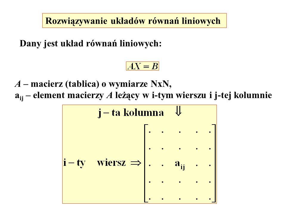 Rozwiązywanie układów równań liniowych Dany jest układ równań liniowych: A – macierz (tablica) o wymiarze NxN, a ij – element macierzy A leżący w i-ty