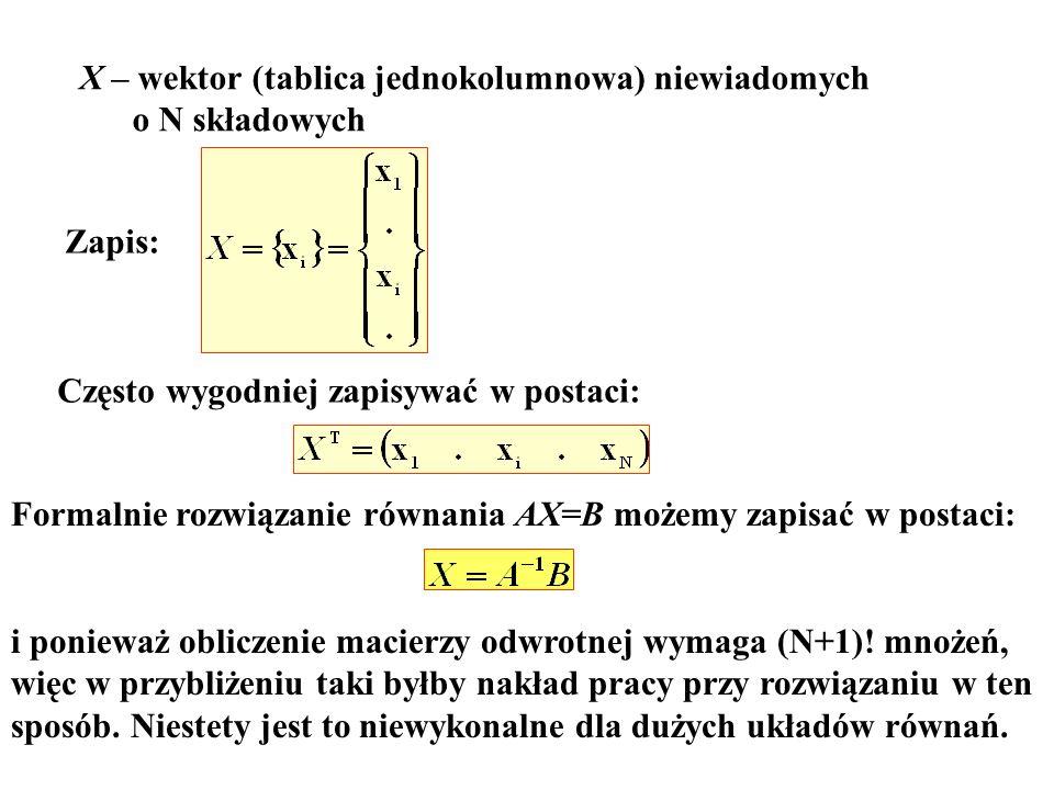 X – wektor (tablica jednokolumnowa) niewiadomych o N składowych Zapis: Często wygodniej zapisywać w postaci: Formalnie rozwiązanie równania AX=B możem